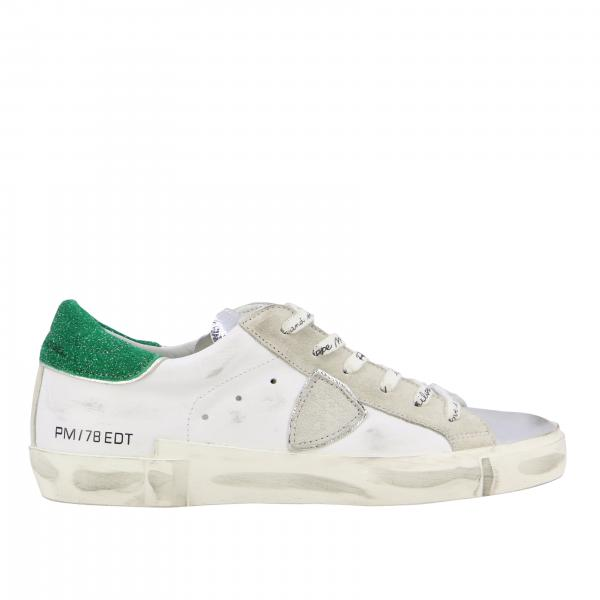 Philippe Model sneakers in worn and laminated leather