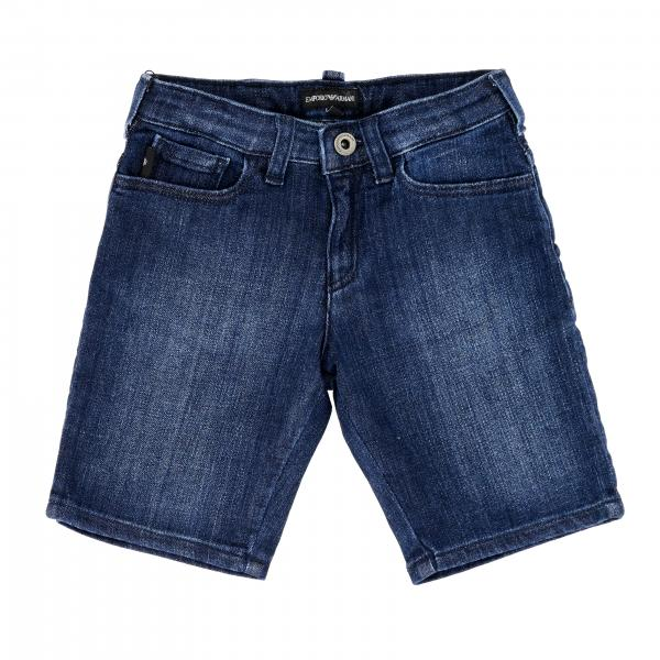 Emporio Armani shorts in used denim with logo