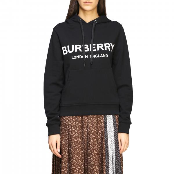 Felpa Burberry con maxi logo e cappuccio