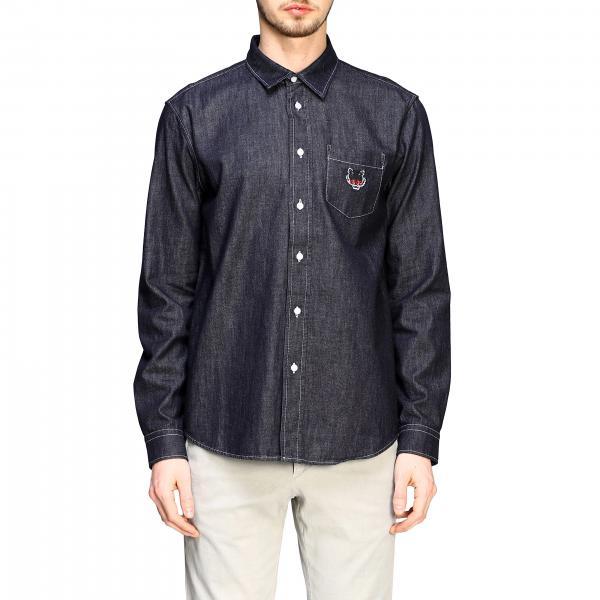 Kenzo denim shirt with pocket and logo