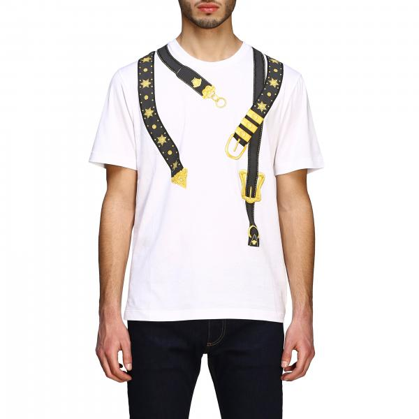 Versace short-sleeved T-shirt with straps print