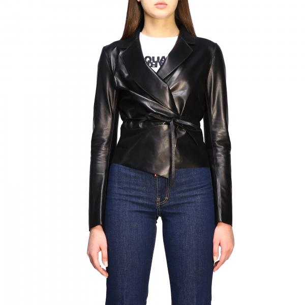 Dsquared2 leather jacket with knot
