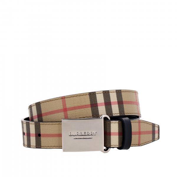 Burberry logo装饰金属扣格纹帆布腰带