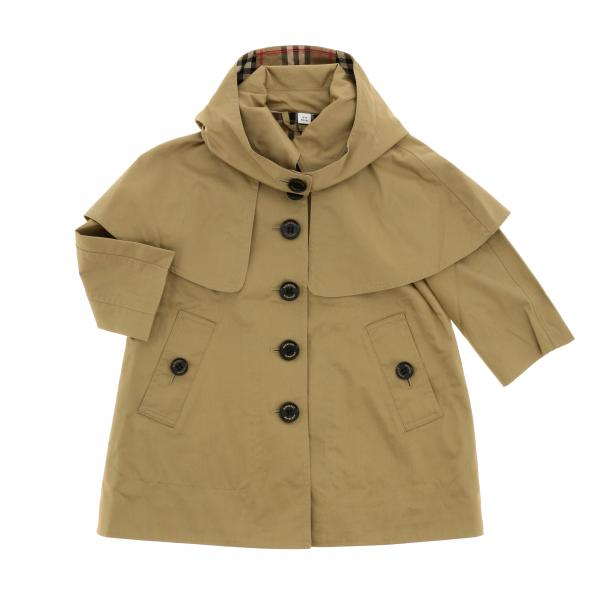 Trench coat Burberry Infant in twill di cotone con cappuccio
