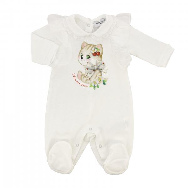 Tutina con piede Monnalisa Bebè in cotone con stampa gatto