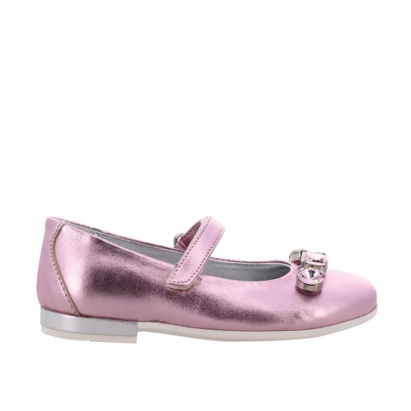 Monnalisa ballet flat in laminated leather with rhinestones