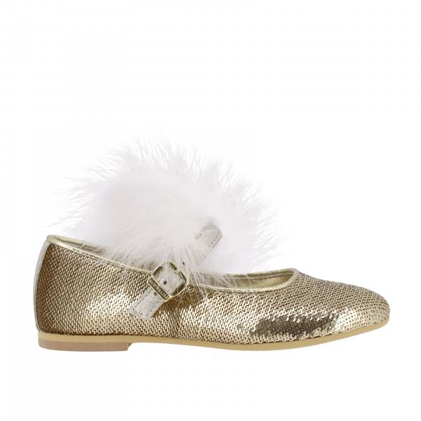 Monnalisa ballet flat with sequins and feathers