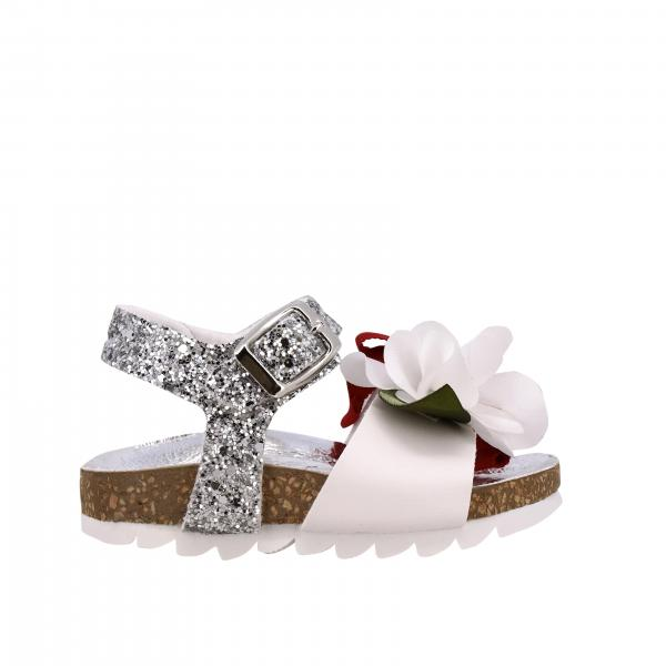 Monnalisa sandal in leather and glitter with floral applications