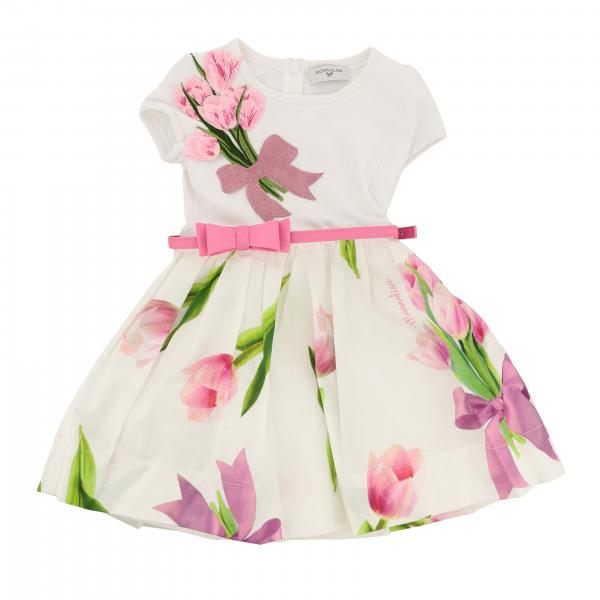 Monnalisa floral dress with belt and bow