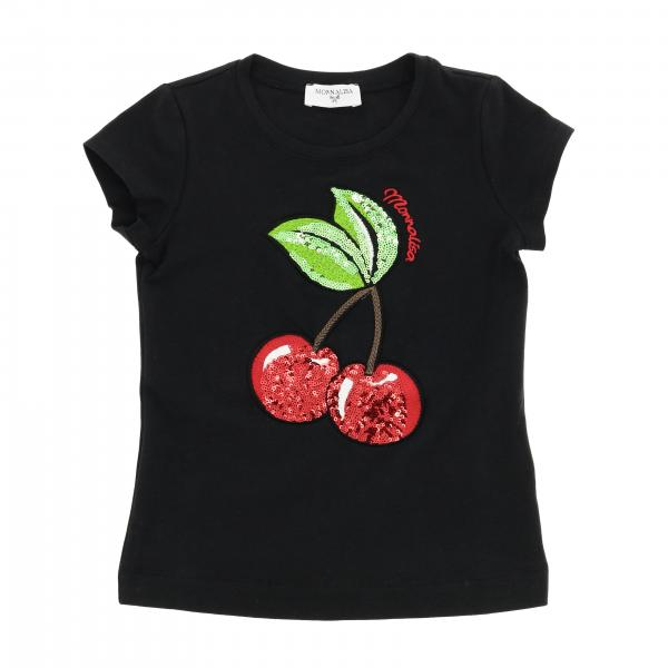 Monnalisa short-sleeved T-shirt with maxi cherries