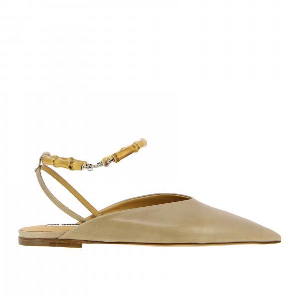 Sandalo flat Jil Sander in pelle liscia con anello in legno