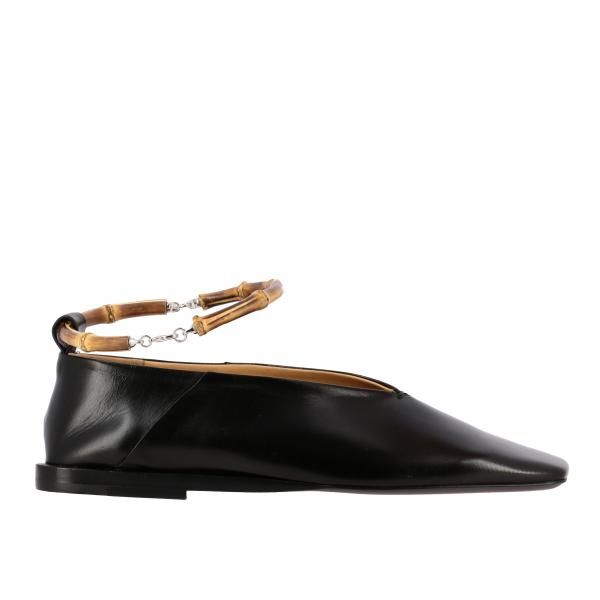 Jil Sander flat sandal in smooth leather with wooden ring