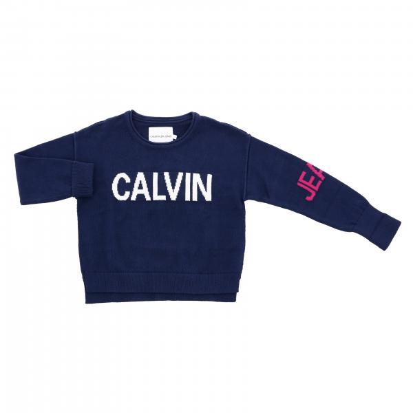 Свитер с круглым вырезом и логотипом Детское Calvin Klein