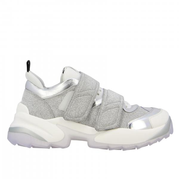 Sneakers Sergio Rossi en cuir laminé et tissu pailleté