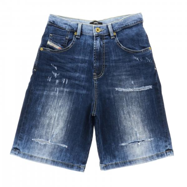 Diesel used denim shorts with logo and tears
