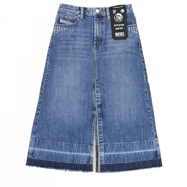 Gonna di jeans Diesel con spacco a 5 tasche