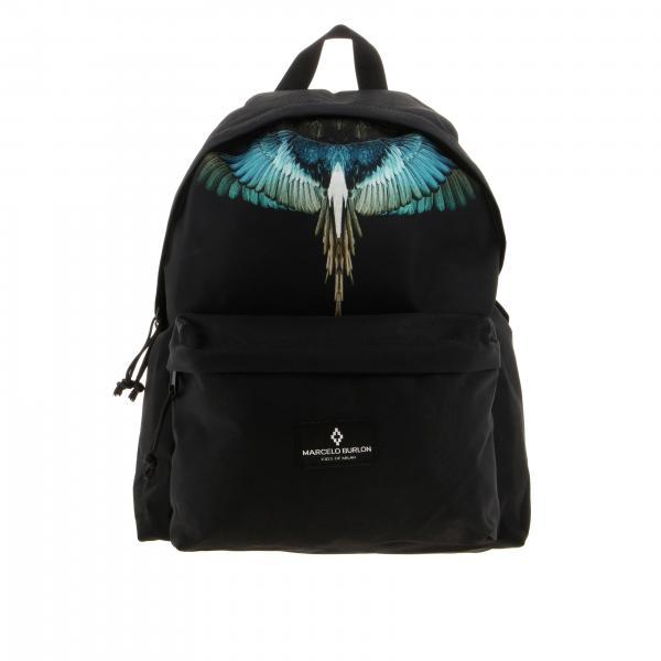 Marcelo Burlon nylon backpack with feather print