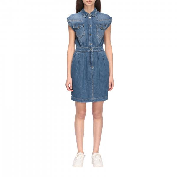 Pinko Jean denim dress in used denim