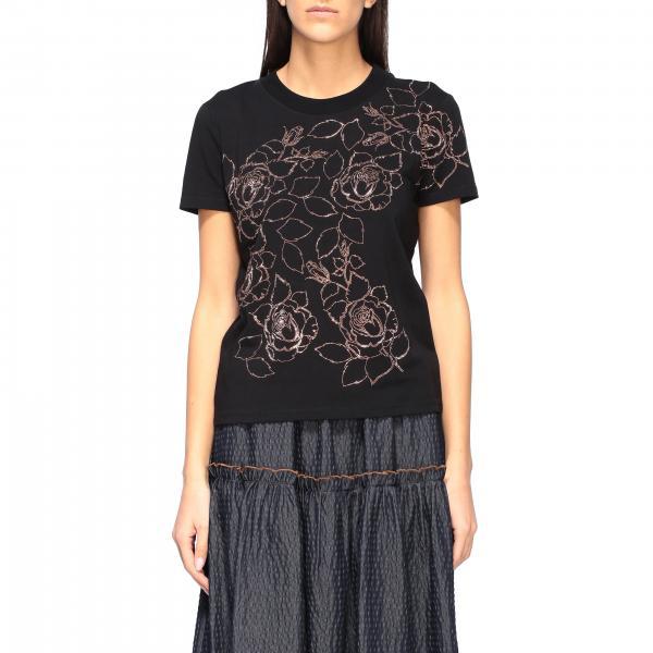 T-shirt Blumarine a maniche corte con elementi floreali