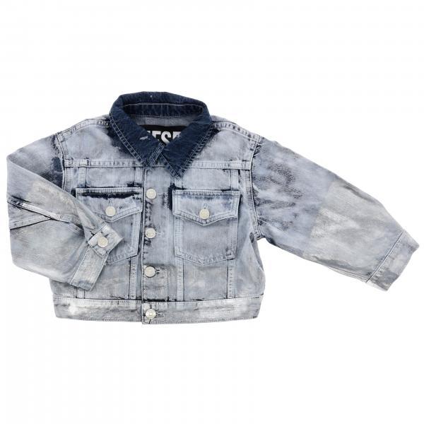 Diesel Jeansjacke mit Used-Effekt und rückseitigem Logo
