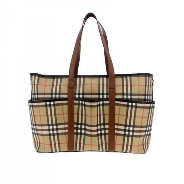 Borsone Mama's bag Burberry in pelle check con logo