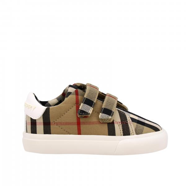 Burberry sneakers in check canvas and leather with logo