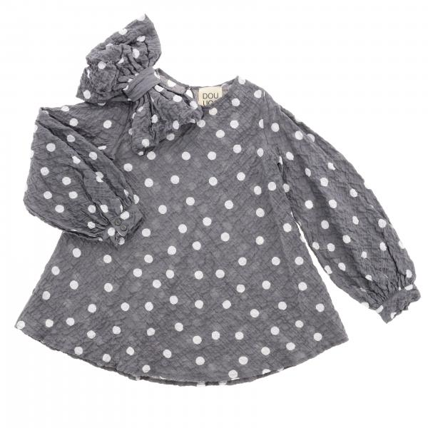 Douuod flared polka dot dress with maxi bow