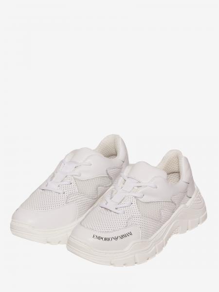 Sneakers Emporio Armani en cuir perforé et filet