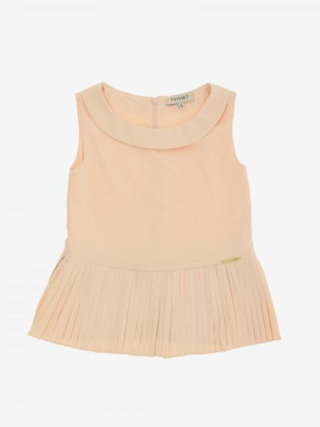 Twin-set top with pleated bottom