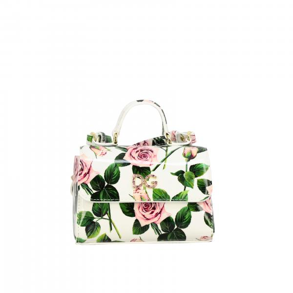 Dolce & Gabbana floral leather bag with DG logo of rhinestones