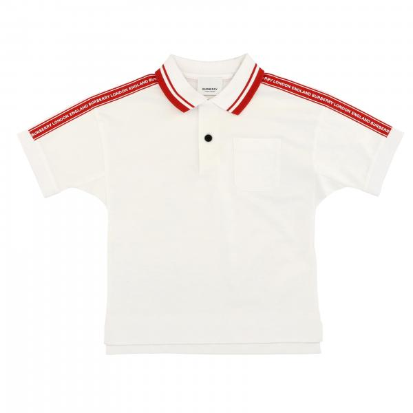 Short-sleeved Burberry polo shirt with logoed bands