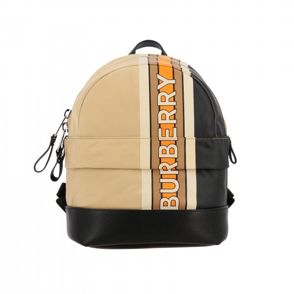 Burberry backpack in canvas and leather with logo print