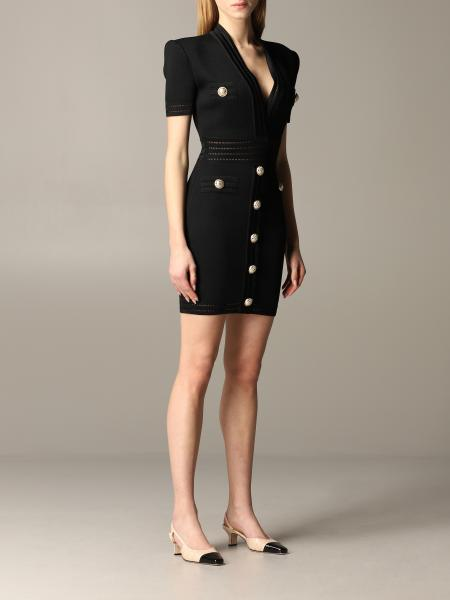 Balmain short-sleeved dress in shaped fabric