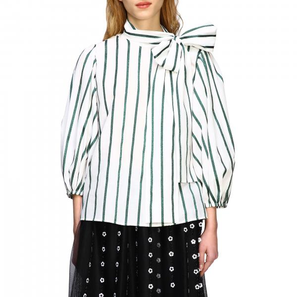 Red Valentino striped shirt with maxi bow