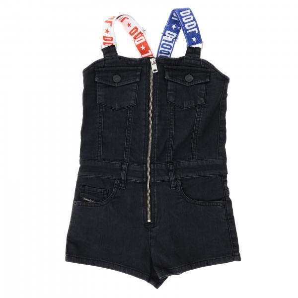 Tuta Diesel corta in denim con zip e bretelle bicolor
