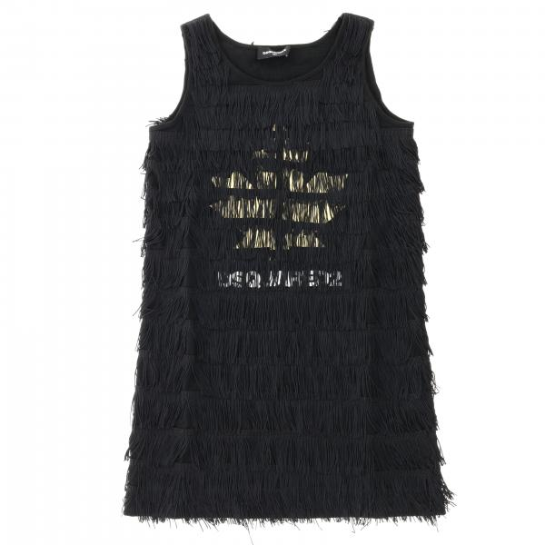 Dsquared2 Junior dress with all over fringes and four-leaf clover print