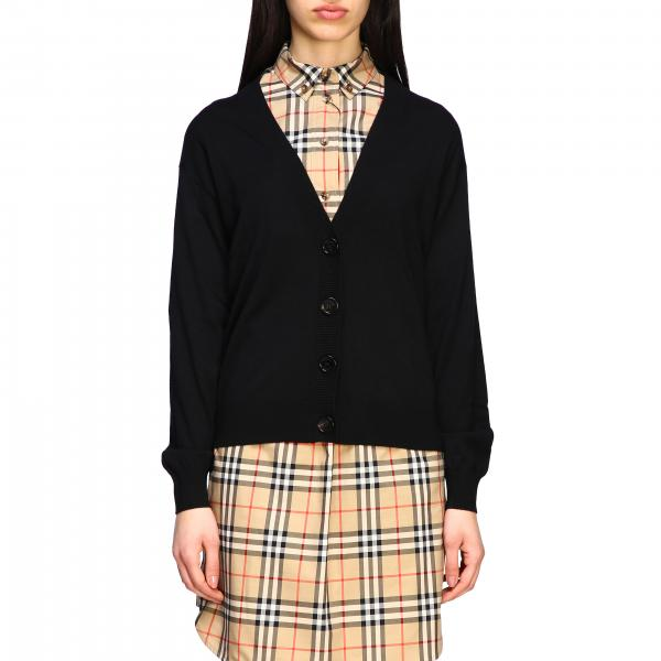 Cardigan Burberry con toppe check