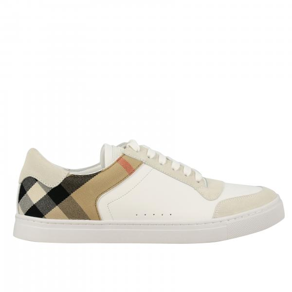Sneakers Burberry in pelle e tela check