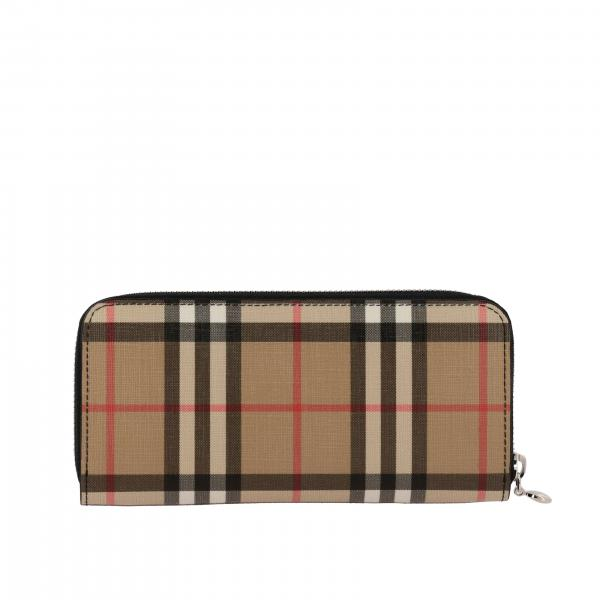 Burberry continental wallet in check leather