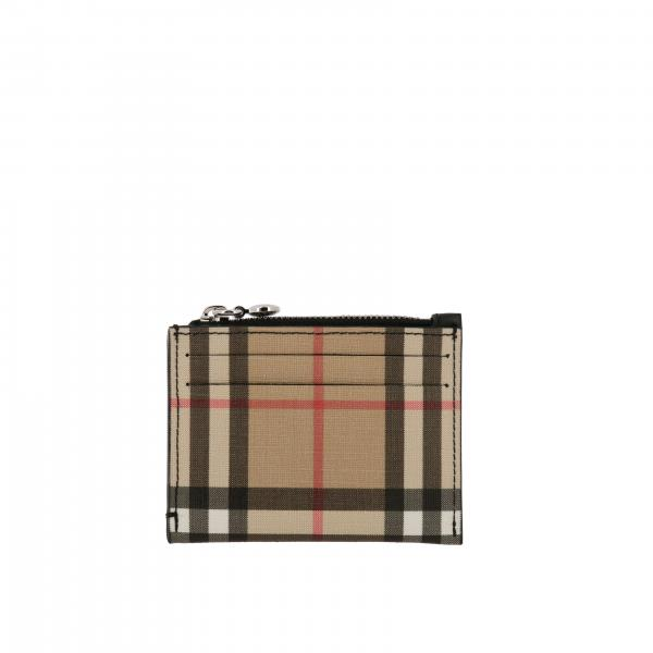 Porta carte di credito Burberry in pelle check con zip