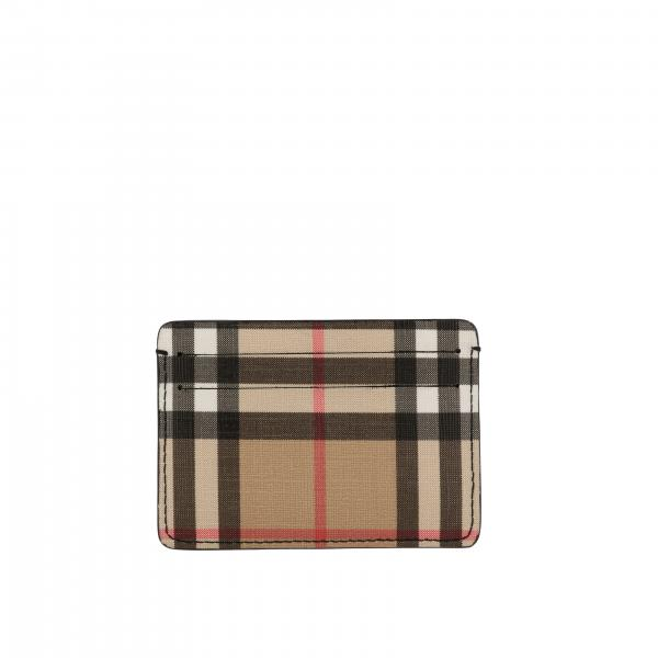 Burberry credit card holder in check leather