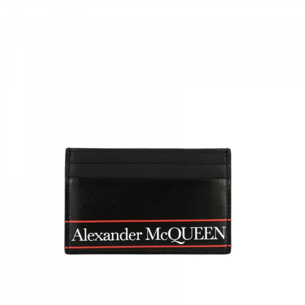 Alexander Mcqueen credit card holder in leather with logo