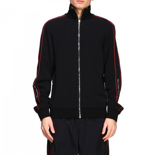 Alexander McQueen Sweatshirt mit Reißverschluss und Logo Streifen