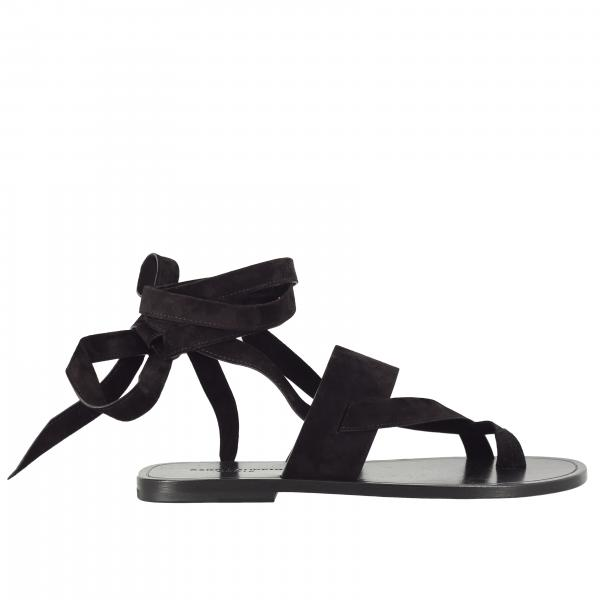 Saint Laurent flip flop flat sandal in suede