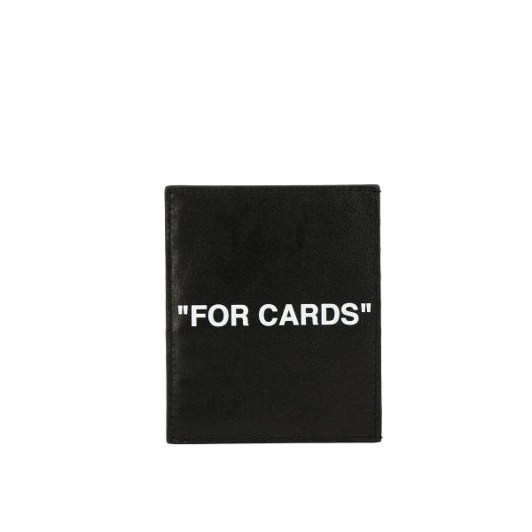 Off White credit card holder in leather with logo print