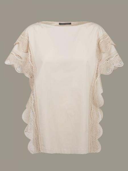 Alberta Ferretti T-shirt with embroidered wave sleeves
