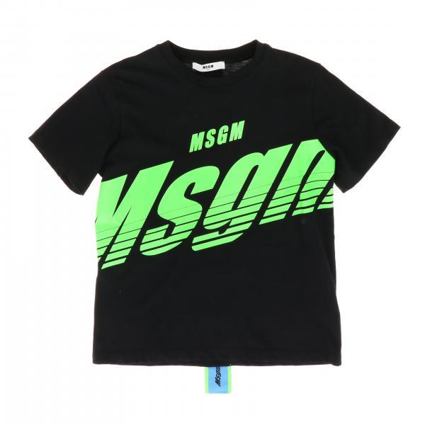 Футболка с коротким рукавом и принтом из логотипа Детское Msgm Kids