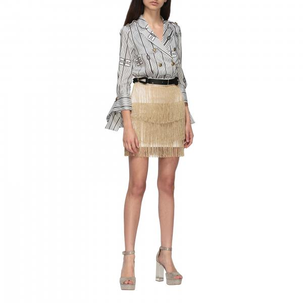 Elisabetta Franchi 流苏装饰裙摆印花衬衫上身连衣裙
