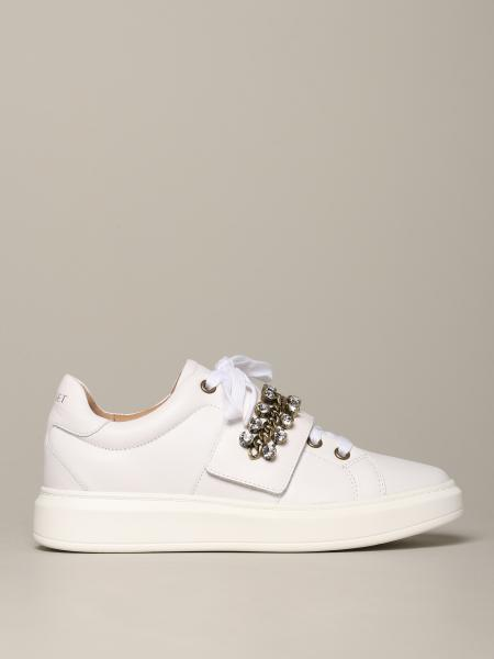Sneakers My Twin in pelle con catena e strass