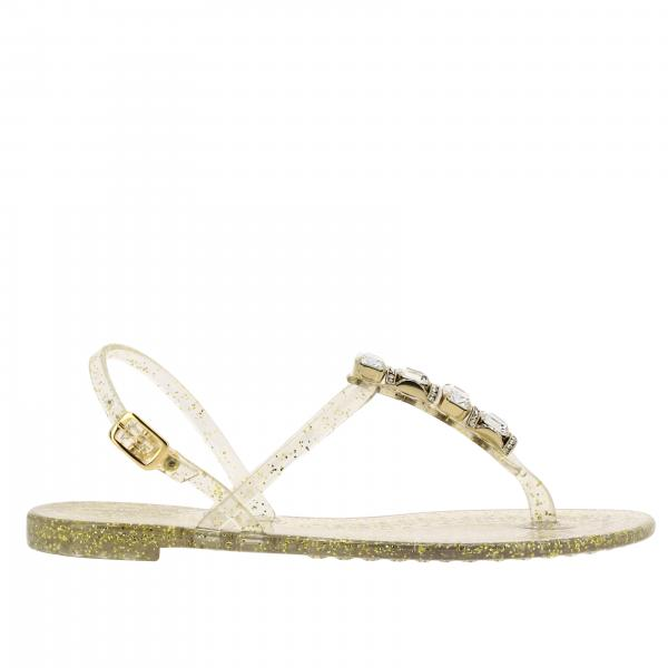 Casadei flat sandal in glitter pvc with jewel crystals